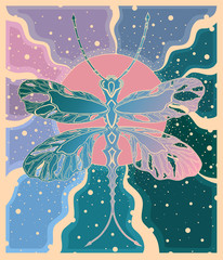 dragonfly in the sun with rays in blue-pink colors, decorative illustration, murals, banner, card, Wallpaper