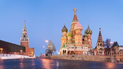 MOSCOW, RUSSIA: Panoramic view of Saint Basil Cathedral.