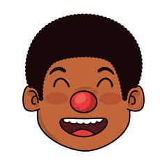 litttle boy with clown nose