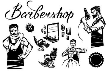 A set of barbershop. Interior and figures of hairdressers. Hand drawn illustration.