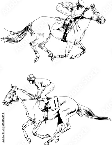 Jockey On A Galloping Horse Painted With Ink By Hand White Background