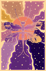 dragonfly on a background of sun rays in purple and orange colors, decorative illustration, murals, banner, card, Wallpaper