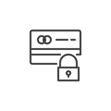 Credit card and lock outline icon. linear style sign for mobile concept and web design. Secure payment simple line vector icon. Symbol, logo illustration. Pixel perfect vector graphics
