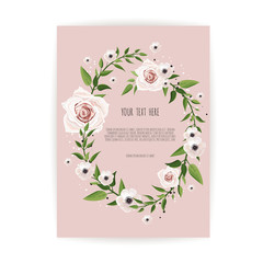 botanic card with wild flowers, leaves. Spring ornament concept. Floral poster, invite. Vector decorative greeting card or invitation design background.