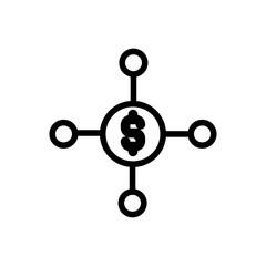 income source outlined vector icon, outlined symbol of finance source. Simple, modern flat vector illustration for mobile app, website or desktop app