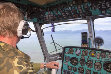 View from the cockpit of a helicopter