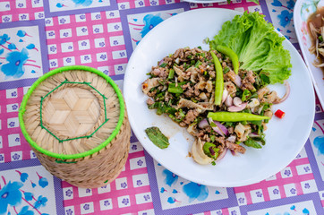 thai food spicy minced beef salad