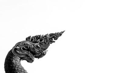 Black and white Naga statue on the white background