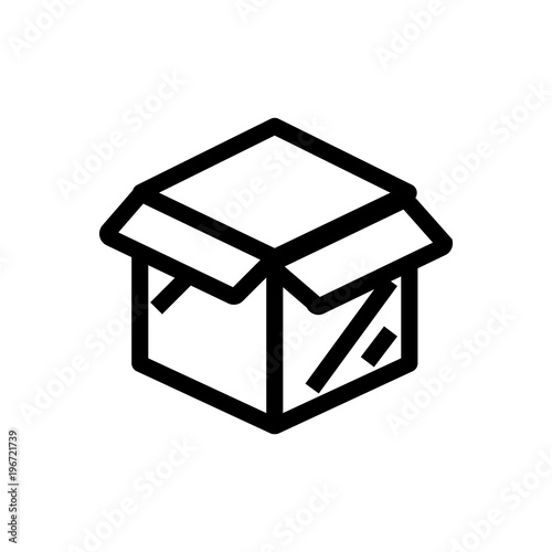 Open Package Outlind Vector Icon Outlined Symbol Of Open Box