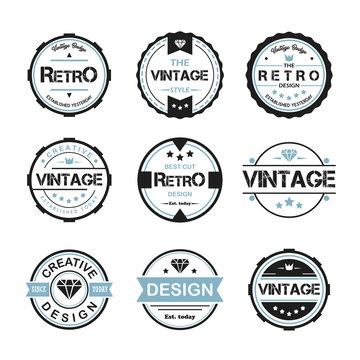 round vintage retro logo badge design illustration,vintage design style, designed for apparel and logo