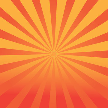 Geometric orange background of repeating circular lines. The lights of a sun.