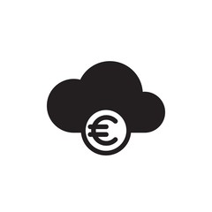 money cloud, euro cloud filled vector icon. Modern simple isolated sign. Pixel perfect vector  illustration for logo, website, mobile app and other designs