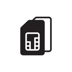 sim card 2, dual sim filled vector icon