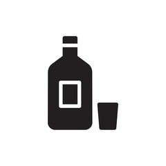 alcohol bottle, alcohol drink filled vector icon