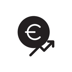 euro chart increase filled vector icon. Modern simple isolated sign. Pixel perfect vector  illustration for logo, website, mobile app and other designs