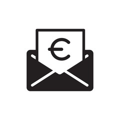 euro mail, financial mail filled vector icon. Modern simple isolated sign. Pixel perfect vector  illustration for logo, website, mobile app and other designs