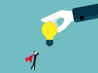 illustration of businessman receiving big bulb idea from big helping hand