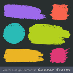 Set of Hand Drawn Flat Grunge Stains. Vector illustration.