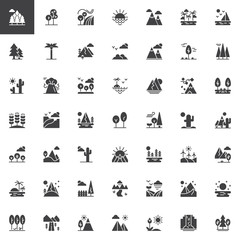 Nature landscapes vector icons set, modern solid symbol collection, filled style pictogram pack. Signs, logo illustration. Set includes icons as forest field, sunset, sunrise, mountain, desert, island
