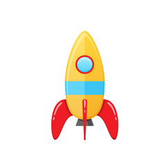 Modern colorful children s toy space rocket with a round window.