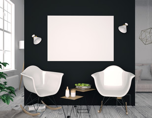 Modern interior with plastic chair. Poster mock up. 3d illustration.