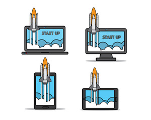 rocket launch on gadget cartoon design illustration.cartoon design style, designed for illustration