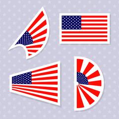 Set of stylish american flags. Vector illustration.