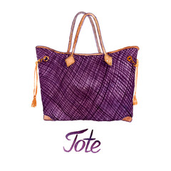 Purple checkered tote bag type with brown details, hand painted watercolor illustration with handwritten inscription isolated on white background