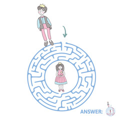 Round children's maze with Prince and Princess. Cute puzzle game for kids, vector labyrinth illustration.