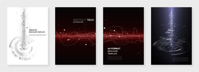 Minimal brochure templates. Abstract digital texture on dark background. Technology sci-fi concept, abstract vector design. Templates for flyer, leaflet, brochure, report, presentation, advertising.