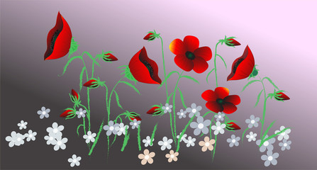 vector flowers illustration..