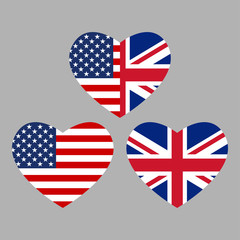 US and UK flags icon in the heart shape. American and British friendship symbol. Vector illustration.