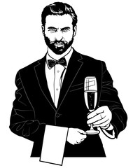 Waiter with Champagne Glass - Black and White Sketch Illustration, Vector