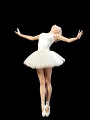 Dancing ballerina 3D. White ballet tutu. Blonde girl with blue eyes. Ballet dancer. Studio photography. High key. Conceptual fashion art. Render realistic illustration. Black background.