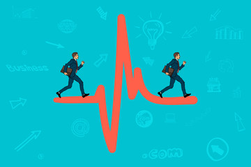 Businessman running on the sign heartbeat