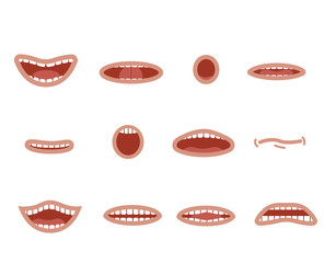 Cartoon mouths set. Smile. Funny Cartoon mouths set with different expressions. Smile with teeth, sticking out tongue, surprised. Cartoon talking mouth and lips expressions vector animations poses