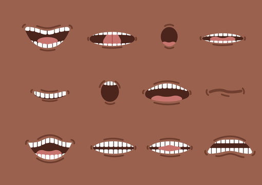 Cartoon african mouths set. Smile. Funny Cartoon mouth set with different expressions. Smile with teeth, sticking out tongue, surprised. Cartoon talking mouth and lips expressions vector animation