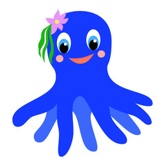 Colorful happy cartoon octopus girl.
