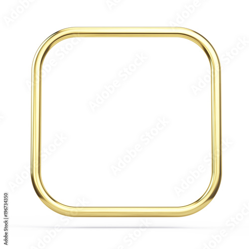 Gold frame square with rounded corners isolated on white. 3d ...