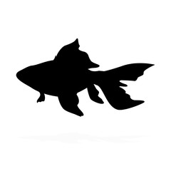 black silhouette of a fish figure
