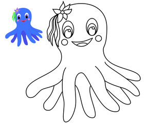 Coloring with example happy cartoon octopus girl.
