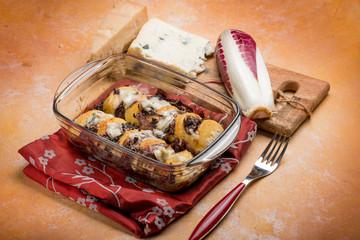 romana gnocchi with red chicory and gorgonzola