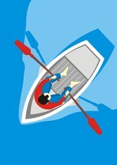 Male boat - view from the top. Vector illustration