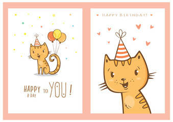 Birthday cards set with cute cartoon cats. Balloons and party hats, hearts and confetti. Vector contour image. Little kittens. Funny animals.