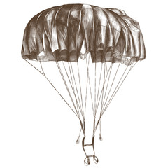 round outdoor parachute in the air sketch vector graphic monochrome drawing