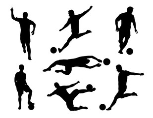 vector of silhouette  set of soccer player kicking the ball