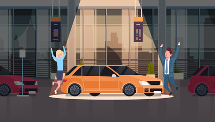 Couple Of Seller Presenting New Car In Dealership Center Showroom Over Set Of New Vechicles Flat Vector Illustration