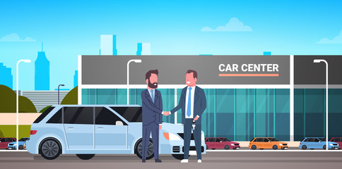 Car Showroom Background, Purchase Sale Or Rental Center Seller Man Giving Keys To Owner Flat Vector Illustration