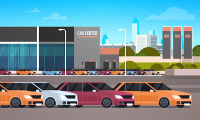 New Cars Over Dealership Center Showroom Building Background Flat Vector Illustration
