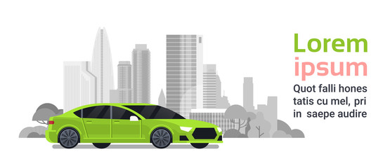 New Car Over Silhouette City Buildings Background With Copy Space Vector Illustration